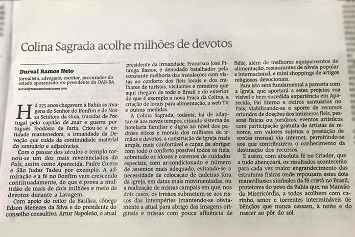 Confira o artigo sobre a Colina Sagrada, publicado na edição de hoje do Jornal A Tarde