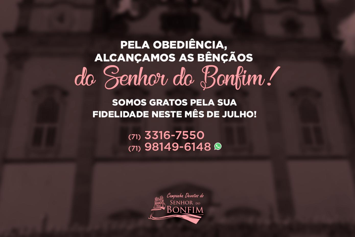 Gratidão pelo seu cuidado em nos ajudar a manter a Basílica do Bonfim!