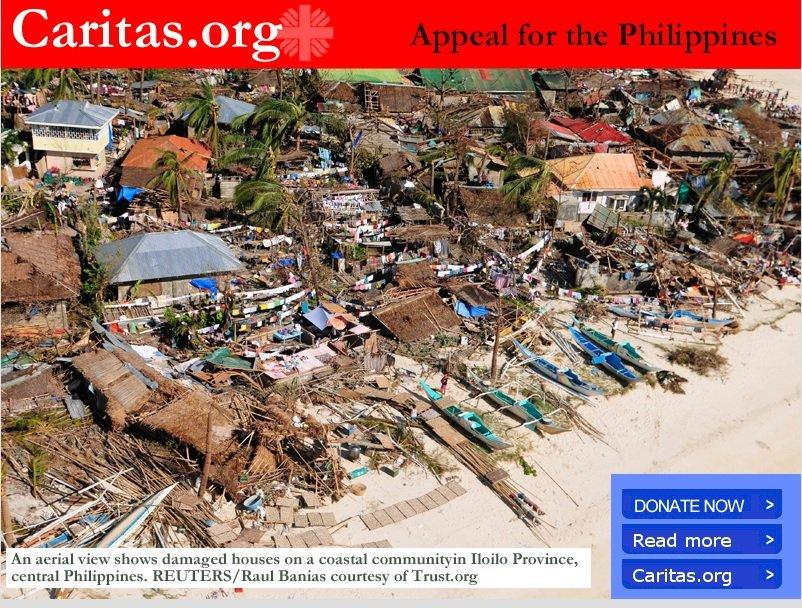 C�ritas Internacional promove campanha de solidariedade �s v�timas de tuf�o nas Filipinas