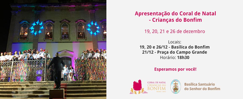 Coral das Crianças do Bonfim fará apresentação de Natal nos dias 19, 20 e 26